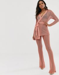 Sorelle UK knitted shimmer tie front longline cardi and wide leg trouser co-ord in pink | trousers and cardigan set