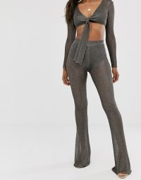 Sorelle UK knitted shimmer wide leg trouser co-ord in gunmetal | knitted fashion