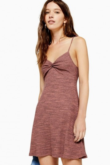 TOPSHOP Space Dye Flippy Dress in Dusty Pink