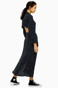 TOPSHOP Spotty Open Back Shirt Dress in Monochrome