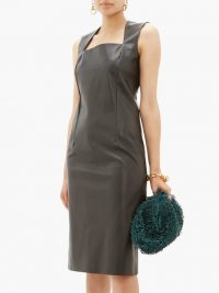 BOTTEGA VENETA Square-neckline black leather dress