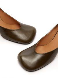 BOTTEGA VENETA Square-toe khaki-green leather pumps ~ squared off court shoes