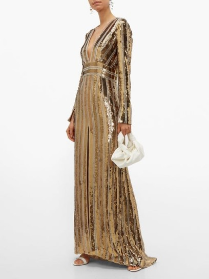 GALVAN Stardust plunge-neck sequinned gown / shimmering gold gowns
