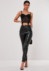 stassie x missguided black faux leather croc print trousers | printed skinnies