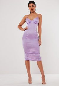 stassie x missguided lilac satin ruched cup bodycon midi dress