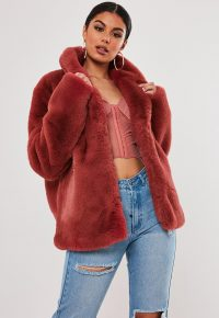 stassie x missguided pink shawl collar faux fur coat | fluffy jackets