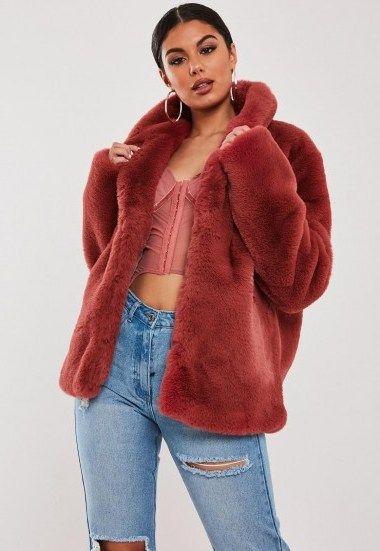 stassie x missguided pink shawl collar faux fur coat | fluffy jackets - flipped