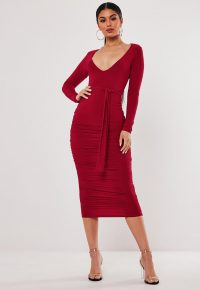 stassie x missguided red slinky belted plunge midi dress