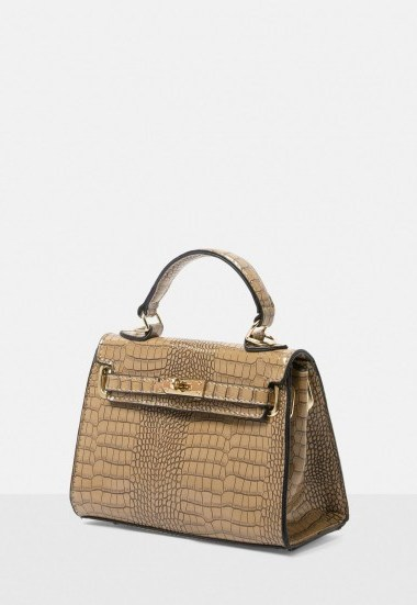 Missguided stassie x missguided taupe croc effect mini handbag | small top handle bags - flipped