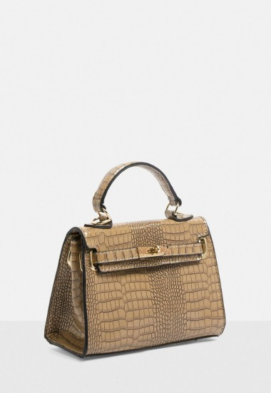 Missguided stassie x missguided taupe croc effect mini handbag | small top handle bags