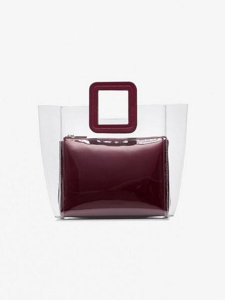 STAUD Burgundy Shirley leather PVC bag - flipped