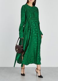 STELLA MCCARTNEY Green horse-jacquard satin maxi dress ~ feminine curved hem dresses