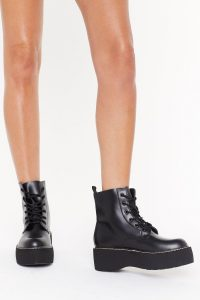 NASTY GAL Stomp My Boots Lace-Up Platform Boots in Black ~ chunky combats