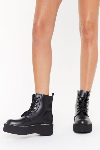 NASTY GAL Stomp My Boots Lace-Up Platform Boots in Black ~ chunky combats - flipped
