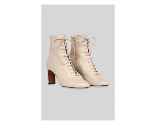 WHISTLES Dahlia Lace Up Boot in Stone ~ neutral luxe leather boots