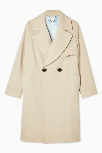 Topshop Stone Double Breasted Coat With Wool | classic style coats - flipped