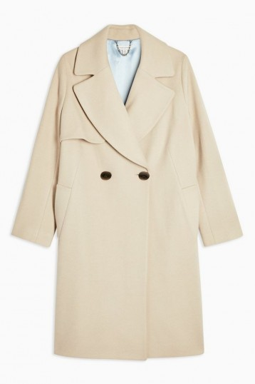 Topshop Stone Double Breasted Coat With Wool | classic style coats