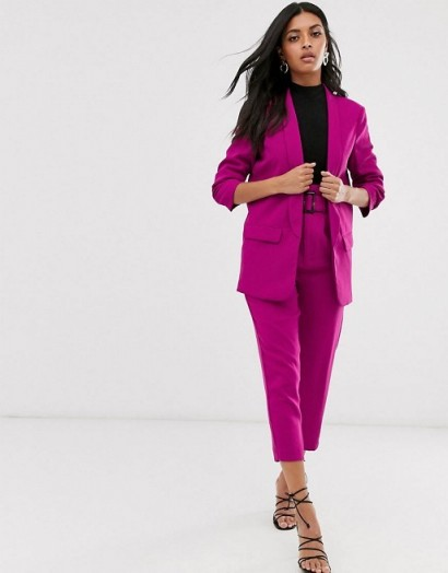 Stradivarius ruched blazer & paperbag trouser co-ord in pink ~ pant suits