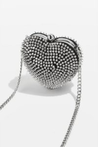 Topshop STUD Heart Box in Silver | small crossbody