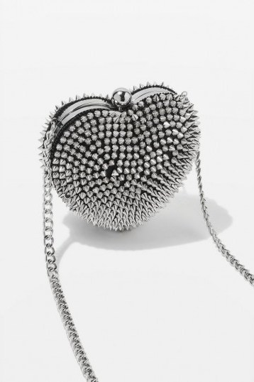Topshop STUD Heart Box in Silver | small crossbody - flipped