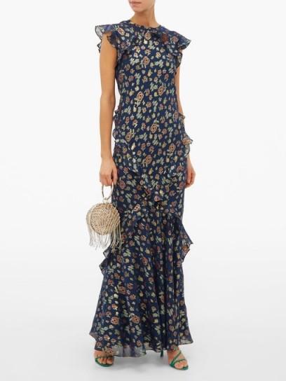 SALONI Tamara floral-jacquard silk-blend maxi dress / chic garden party look