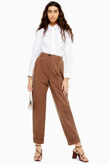 TOPSHOP Taupe Pleated Trousers ~ pleat detail pants