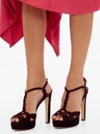 FRANCESCO RUSSO T-bar burgundy-velvet platform sandals | vintage style heels