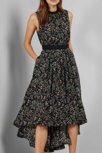 Ted Baker Hazel Print Dip Hem Midi Dress
