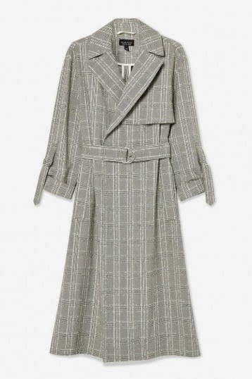 TOPSHOP Textured Check Trench ~ checked coats - flipped