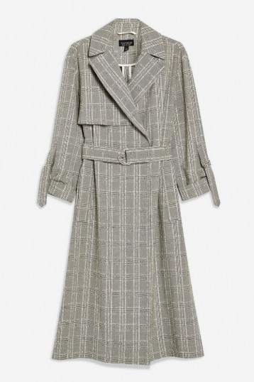 TOPSHOP Textured Check Trench ~ checked coats