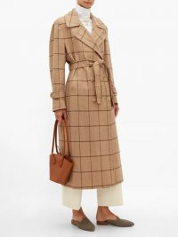 GIULIVA HERITAGE COLLECTION The Christie checked wool trench coat in camel