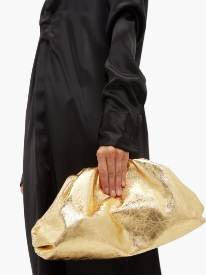 BOTTEGA VENETA The Pouch large crinkled metallic-gold leather clutch