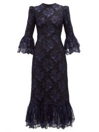THE VAMPIRE'S WIFE The Wild Flower metallic floral-lace midi dress in navy