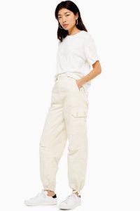 Topshop Tie Hem Utility Trousers in Ecru | cuffed cargo pants