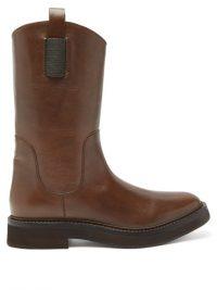 BRUNELLO CUCINELLI Tread-sole dark-brown leather Chelsea boots