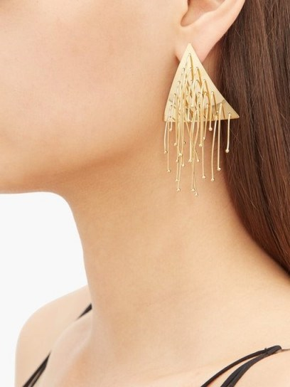 JIL SANDER Triangular drop earrings / tasseled triangles - flipped