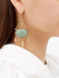KARRY GALLERY Turkish Delight green stone drop earrings