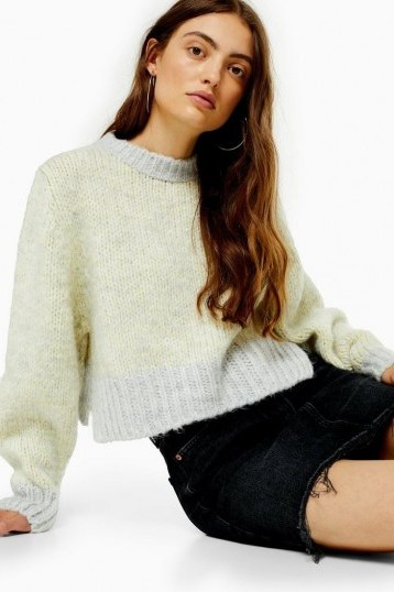 Topshop Twist Deep Ribbed Jumper in Yellow - flipped