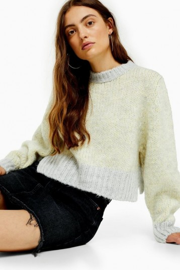Topshop Twist Deep Ribbed Jumper in Yellow