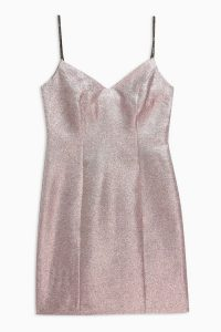 Topshop Two Tone Mini Dress in Rose