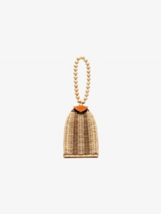 Ulla Johnson Beige Raya Beaded Straw Bracelet Bag