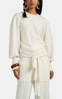 ULLA JOHNSON Tatiana Tie-Waist Top in Ivory ~ chic clothing