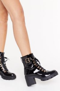 NASTY GAL Unde-cleated Champ Lace-Up Hiker Boots in Black ~ high-shine chunky boot