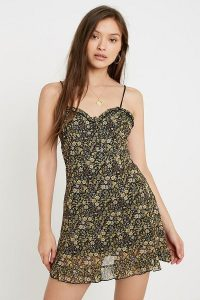UO Aurelie Yellow Ditsy Floral Mesh Mini Dress / frill trimmed skinny strap dresses