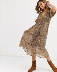 Vero Moda puff sleeve smock midi dress in ditsy floral print