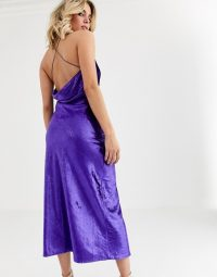 Vestire natural born killers velvet slip midi dress in violet | strappy cross back cami dresses