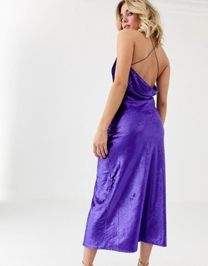 Vestire natural born killers velvet slip midi dress in violet | strappy cross back cami dresses - flipped