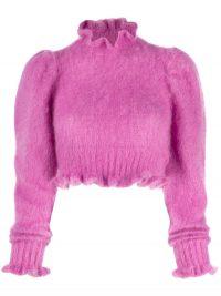 WANDERING cropped long-sleeve top in pink