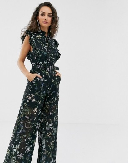 We Are Kindred Ambrosia frill sleeve floral jumpsuit in black blooms   summer party fashion - flipped