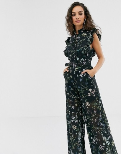 We Are Kindred Ambrosia frill sleeve floral jumpsuit in black blooms | summer party fashion